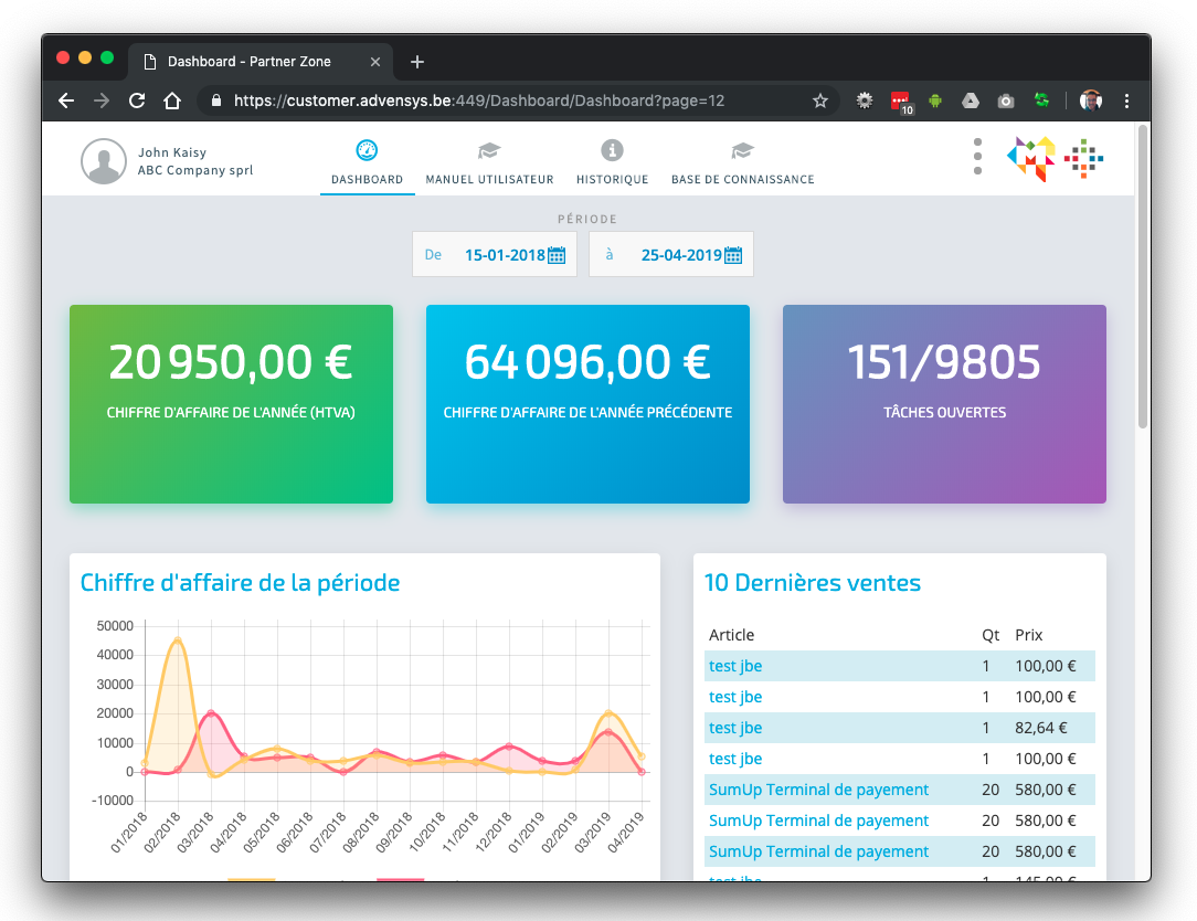 modullo portal - dashboard